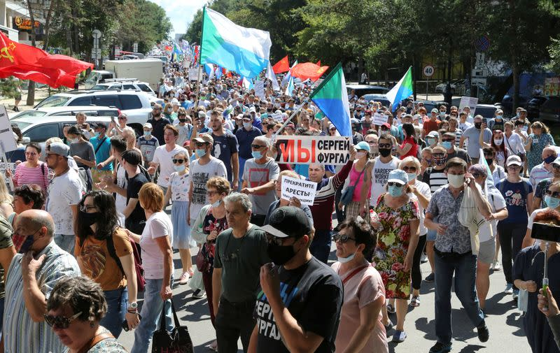 Protesters hold seventh anti-Kremlin march over detained governor