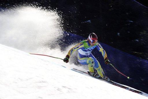 Tajikistan's Andrey Drygin during the men's Super-G race of the Vancouver 2010 Winter Olympics on February 19, 2010