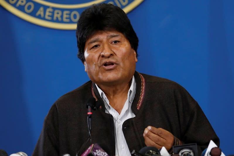 Bolivia's President Evo Morales addresses the media in El Alto