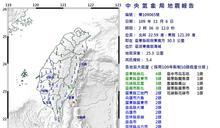 東部超晃!2:36規模5.4強震
