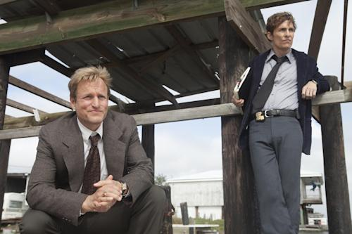 "This image released by HBO shows Woody Harrelson, left, and Matthew McConaughey from the HBO series ""True Detective,"" premiering Jan. 12, at 9 p.m. EST. (AP Photo/HBO, Jim Bridges)"