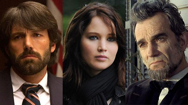 'Lincoln' ahead. 'Argo' and 'Silver Linings Playbook' give chase.