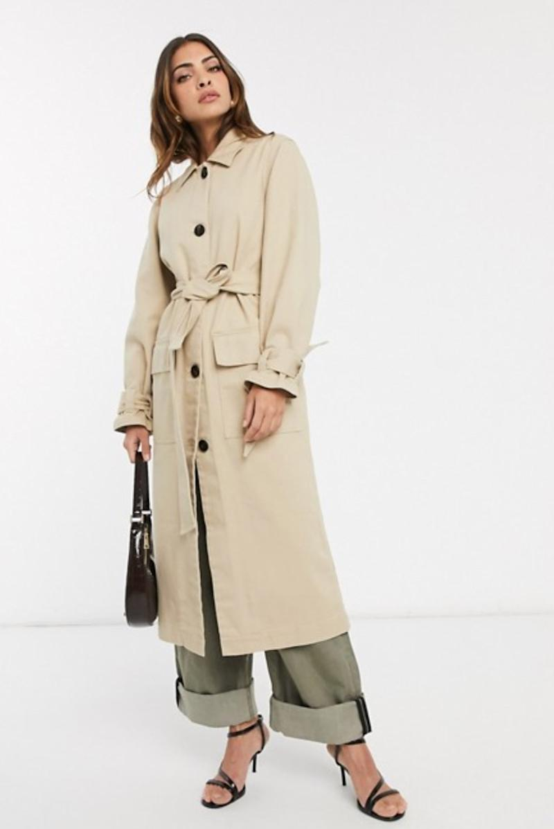 ASOS DESIGN denim trench coat with tie cuff detail (photo via ASOS)