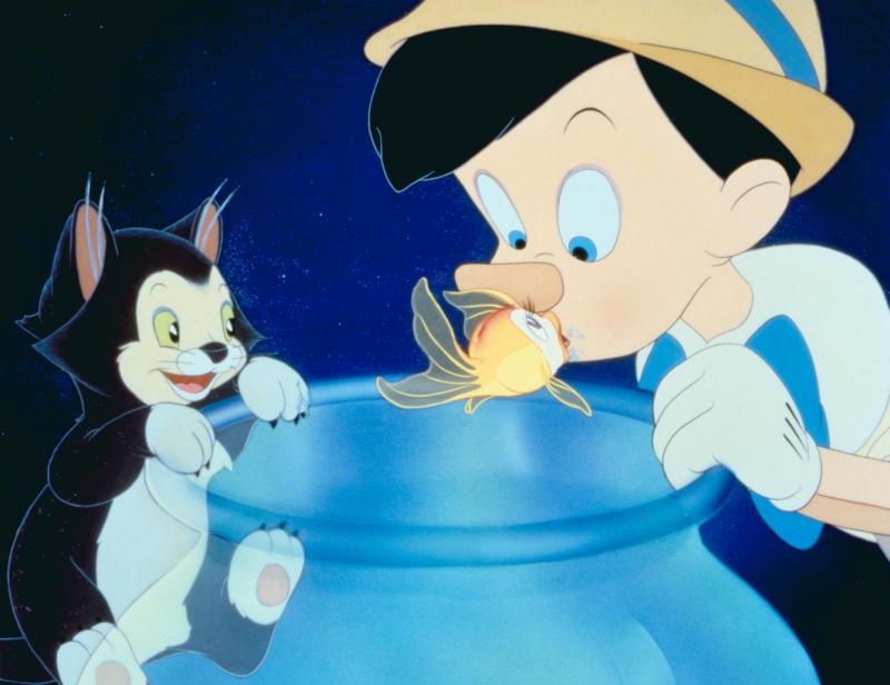 Figaro, Cleo and Pinocchio in 'Pinocchio