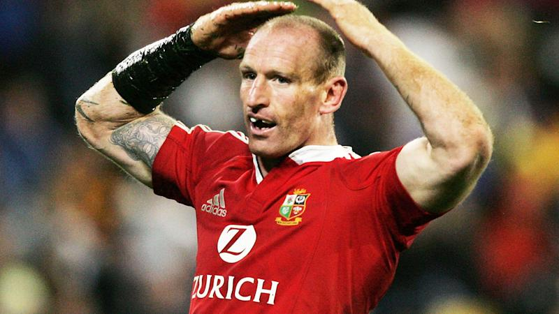 Gareth Thomas, pictured here playing for the British and Irish Lions in 2005.