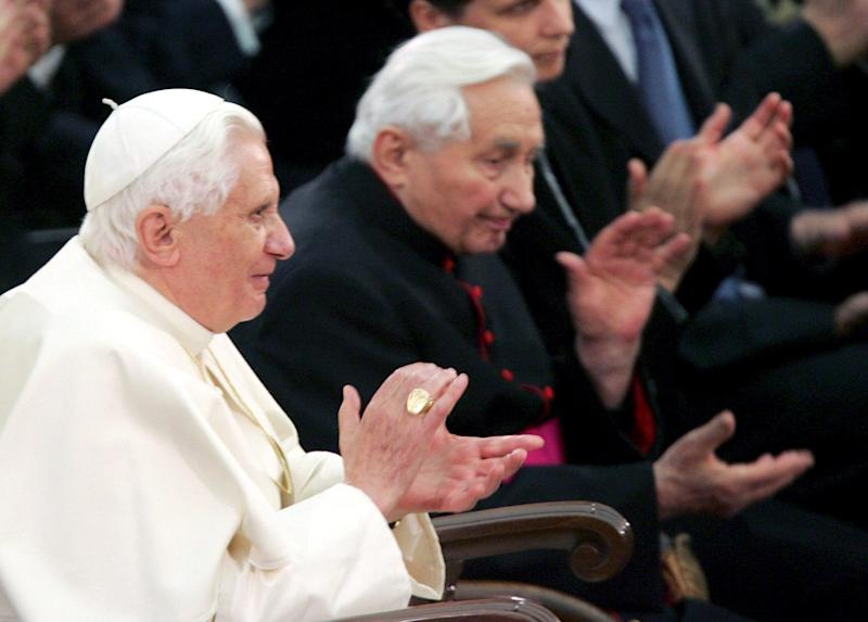 Benedict XVI and Mgr Georg Ratzinger listen the concert of the Orchestra and Chorus of Bavarian radio in the Vatican, 2007 - GIUSEPPE GIGLIA/EPA-EFE/Shutterstock