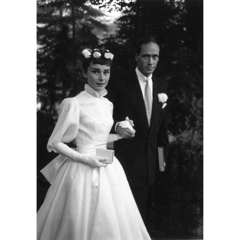 """<p><em>Breakfast at Tiffany's </em>actress Audrey Hepburn wed actor Mel Ferrer in a <a href=""""http://www.instyle.com/celebrity/celebrity-weddings/new-details-emerge-audrey-hepburns-secret-wedding"""" target=""""_blank"""">secret wedding</a> on September 25, 1954 in Switzerland. They had one son, Sean Hepburn Ferrer, and divorced in 1968 after more than a decade of marriage. </p>"""