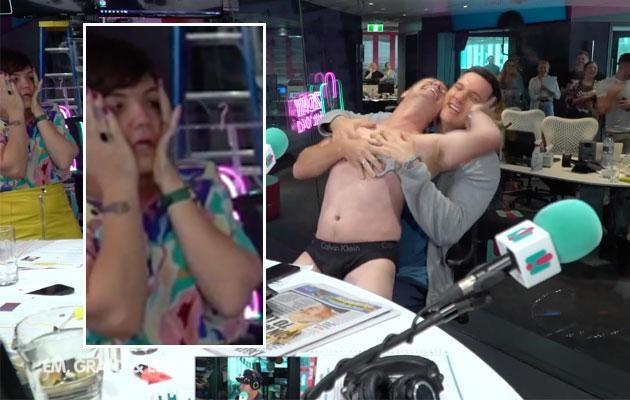 Em Rusciano literally couldn't deal with Grant getting naked. Source: 2DayFM