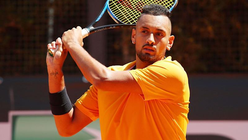 Nick Kyrgios has ended his brief but eventful clay swing. Pic: Getty