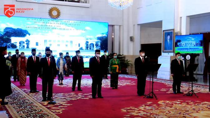 Pelantikan Keanggotaan Konsil Kedokteran Indonesia (KKI) periode 2020-2025 di Istana Negara. (Tangkapan layar YouTube Sekretariat Presiden)