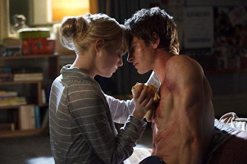 "In this film image released by Sony Pictures, Emma Stone, left, and Andrew Garfield are shown in a scene from ""The Amazing Spider-Man, set for release on July 3, 2012. (AP Photo/Columbia - Sony Pictures, Jaimie Trueblood)"