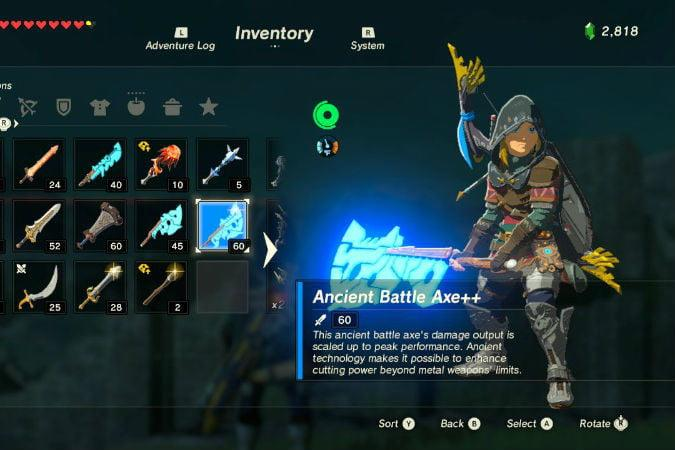 the legend of zelda breath wild best weapons ancient axe