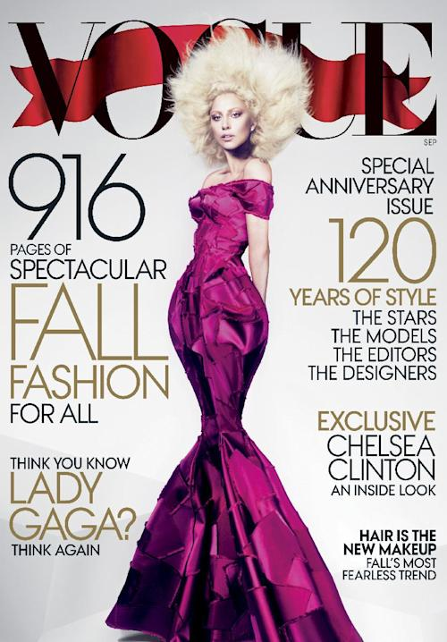 This image released by Vogue shows Lady Gaga on the cover of the Sept. 2012 issue of Vogue magazine. The issue will be available on newsstands nationwide on Aug. 21. (AP Photo/Mert Alas and Marcus Piggott for Vogue)