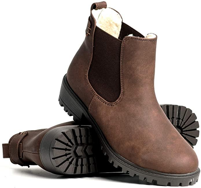 DLG Womens Brooklyn Vegan Leather Warm Lined Twin Gore Boot in brown. Image via Amazon.