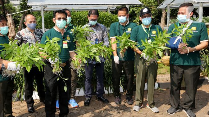 Menteri Pertanian Syahrul Yasin Limpo pada peringatan Hari Tani Nasional di Jakarta, Kamis (24/9/2020). Bertepatan Hari Tani, Bayer Indonesia mendukung program pemerintah menjaga ketersediaan pangan nasional melalui pemberdayaan pahlawan pangan. (Liputan6.com/Pool)
