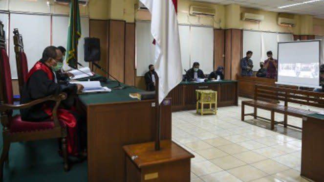 Suasana sidang tuntutan kasus penyiraman air keras terhadap Novel Baswedan.
