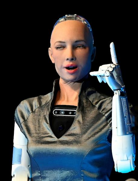 Sophia the robot -- seen here in Mexico City in September 2019 -- also appeared at New York Fashion Week