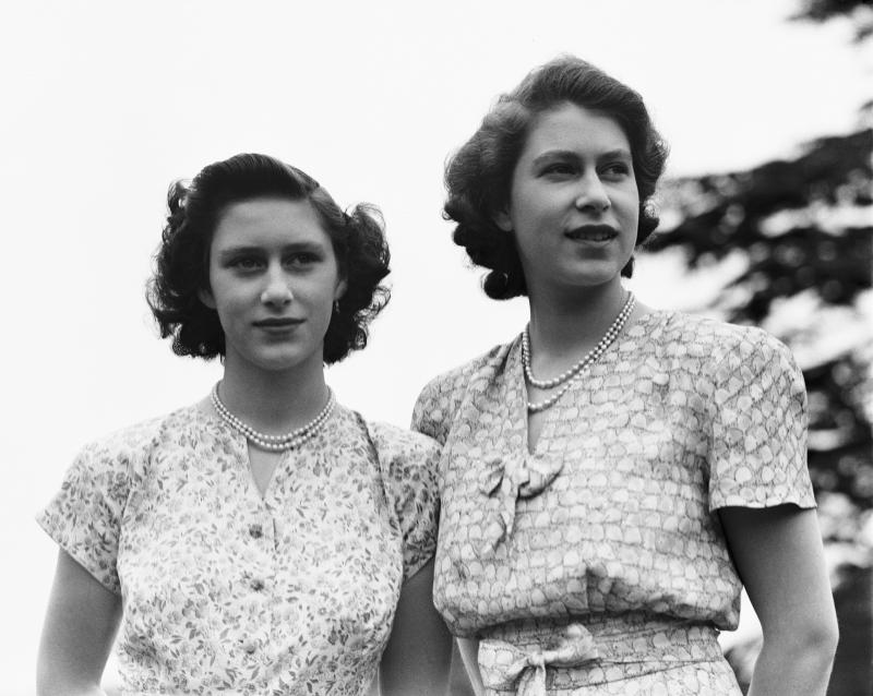 Princess Elizabeth and her sister Princess Margaret at their childhood home, Royal Lodge, Windsor in 1946.