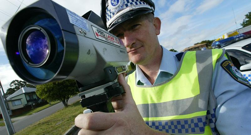 Tuggerah Lakes highway patrol supervisor Gary Carr tests the speed of NSW motorists. Source: Getty/File