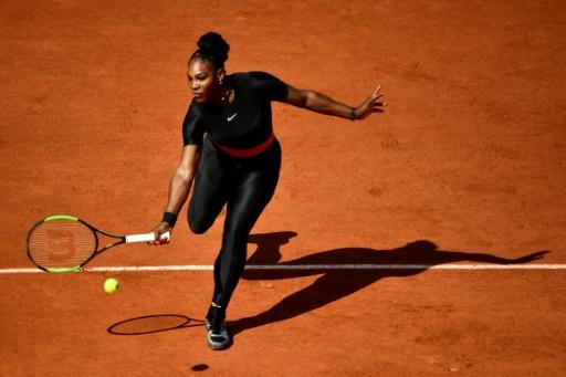 Making a statement: Serena Williams in her black catsuit at Roland Garros