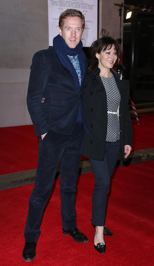 Damian Lewis and wife Helen McCrory arrive on the red carpet for the opening night of 'The Book of Mormon' at The Prince of Wales theatre in central London, Thursday, March 21, 2013. (Photo by Joel Ryan/Invision/AP)