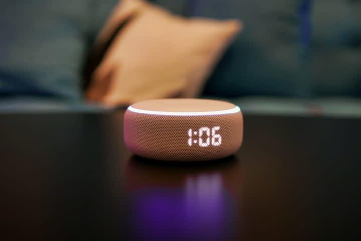 Amazon Echo Dot 3rd Gen Clock angle