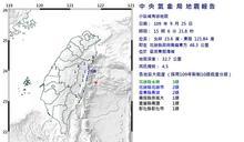 15:06花蓮地震 芮氏規模4.5