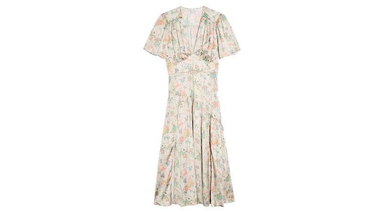 Willow Floral Print Angel Sleeve Midi Dress