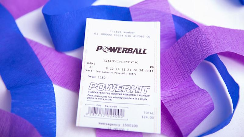 Picture of Powerball 'quickpick' lottery ticket with streamers