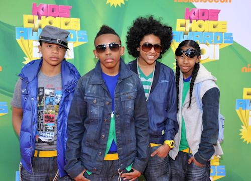 FILE - In this April 2, 2011 file photo, members of Mindless Behavior, from left, Roc Royal, Prodigy, Princeton and Ray Ray arrive at Nickelodeon's 24th Annual Kids' Choice Awards in Los Angeles. Mindless Behavior is one of many young singers blazing the charts. (AP Photo/Vince Bucci, file)