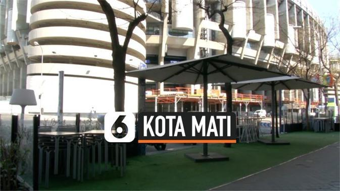 VIDEO: Akibat Corona, Madrid Jadi Kota Mati
