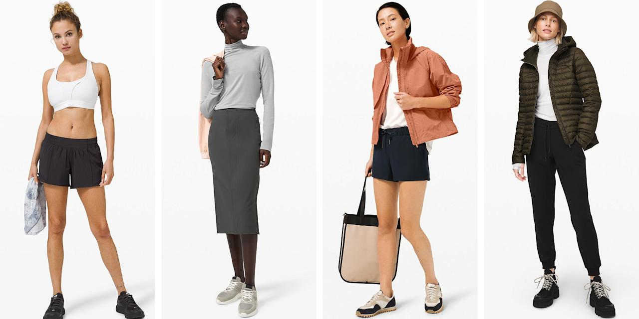 """<p>Let's be honest: Shopping for fall clothes looks <em>very</em> different this year. Instead of investing in cute flannels, jeans, and booties, you're stocking up on sweatpants, fuzzy socks, leggings, and more sweatpants. Fortunately, Lululemon just restocked its <a href=""""https://go.redirectingat.com?id=74968X1596630&url=https%3A%2F%2Fshop.lululemon.com%2Fc%2Fwomen%2F_%2FN-1z13zi2Z7vf%3Fmnid%3Dmn&sref=https%3A%2F%2Fwww.elle.com%2Ffashion%2Fg34013883%2Flululemon-sale-we-made-too-much%2F"""" target=""""_blank"""">""""We Made Too Much"""" </a>section with a bunch of fall essentials. You see, when Lululemon has a surplus of pieces, the company offers drastic price cuts to incentivize its shoppers. (As if you needed an excuse to shop...) </p><p>Whether you're looking for a chunky sweater, new pair of leggings, or a winter jacket for the colder months ahead,  you're bound to find something worth adding to your cart. To help, we're sharing 10 of our favorite deals, below: </p>"""