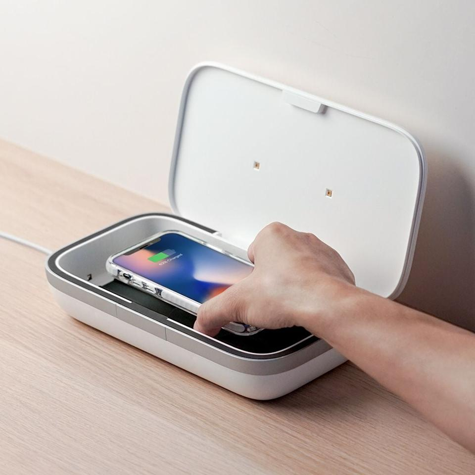 "<p>If you've been looking for a way to clean your phone, get this <a href=""https://www.popsugar.com/buy/CASETiFY-UV-Sanitizer-563827?p_name=CASETiFY%20UV%20Sanitizer&retailer=casetify.com&pid=563827&price=120&evar1=casa%3Aus&evar9=45637069&evar98=https%3A%2F%2Fwww.popsugar.com%2Fhome%2Fphoto-gallery%2F45637069%2Fimage%2F47375065%2FCASETiFY-UV-Sanitizer&list1=shopping%2Cgadgets%2Ctech%20shopping%2Chome%20shopping&prop13=api&pdata=1"" rel=""nofollow"" data-shoppable-link=""1"" target=""_blank"" class=""ga-track"" data-ga-category=""Related"" data-ga-label=""https://www.casetify.com/product/uv-sanitizer"" data-ga-action=""In-Line Links"">CASETiFY UV Sanitizer</a> ($120).</p>"
