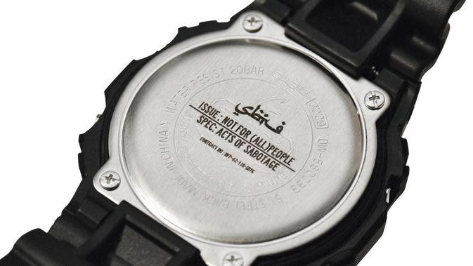 Simbol kolaborasi di penutup jam tangan terbaru G-Shock. (dok. Casio Indonesia/Dinny Mutiah)