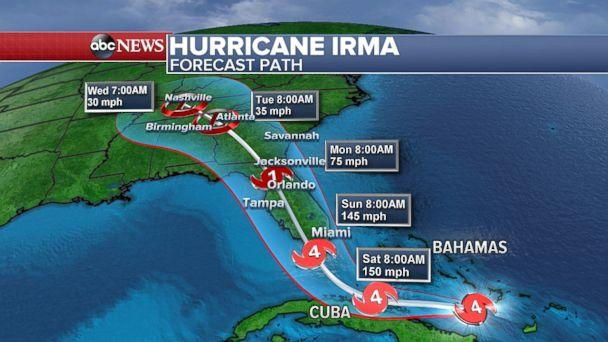 Map: Projected path of Hurricane Irma as of 11am ET, Sept. 8, 2017. (ABC News)