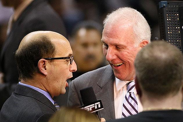 Jeff Van Gundy interviewed Gregg Popovich during Spurs-Mavericks, and things got emotional/physical (Video)