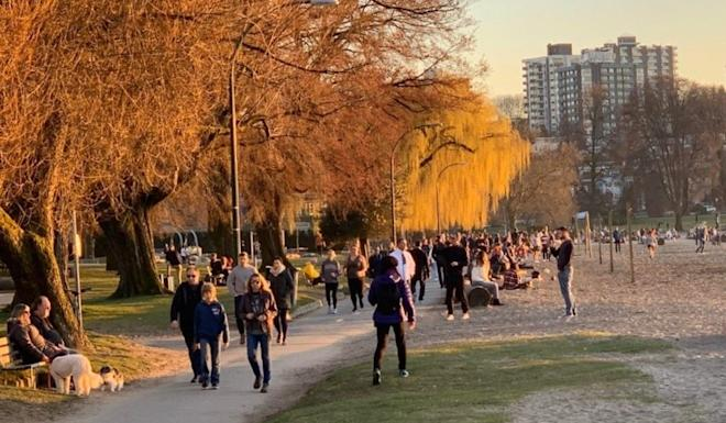 Another look at Kitsilano Beach in Vancouver on Wednesday, the day that Vancouver's mayor said he would declare a state of emergency over the Covid-19 pandemic. Photo: Supplied
