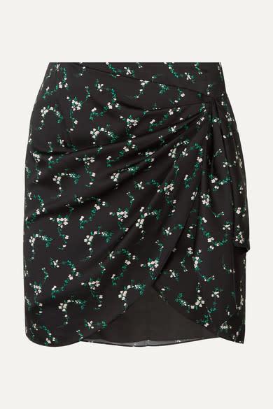 Caroline Constas Koren Gathered Silk Mini Skirt