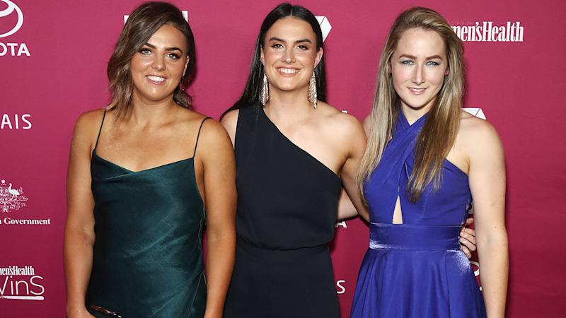 Ebony Marinoff, Alish Considine and Eloise Jones, pictured here at the Women in Sport Awards.