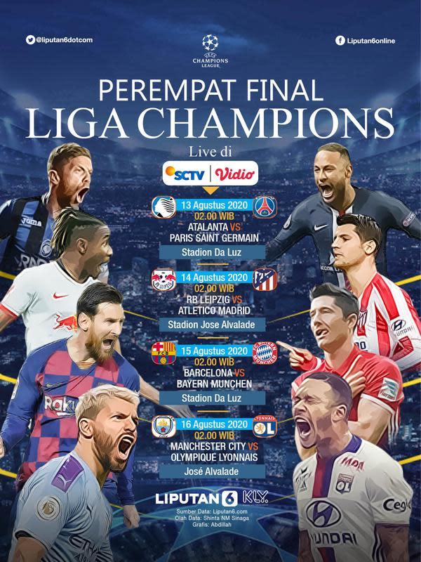 Infografis Perempat Final Liga Champions (Liputan6.com/Abdillah)