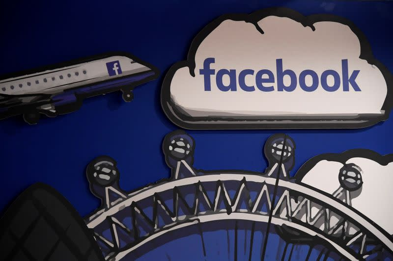 Facebook branding is seen in a workspace at the company's offices in London