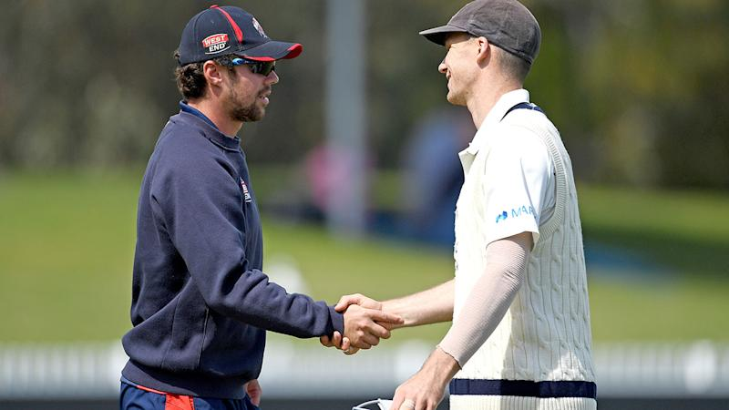 Travis Head and Peter Handscomb, pictured here after the farcical Sheffield Shield match.