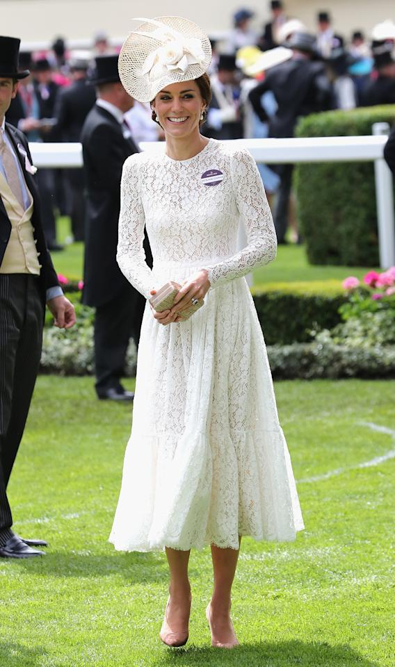 <p>Well-versed in royal ascot style, the Duchess wore a £2,415 Dolce and Gabbana to the races back in 2016. She finished the ensemble with a matching Jane Taylor headpiece and £450 Gianvito Rossi blush pink shoes. <em>[Photo: Getty]</em> </p>