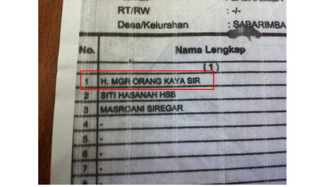 Nama Unik di Kartu Keluarga (Sumber:1cak)