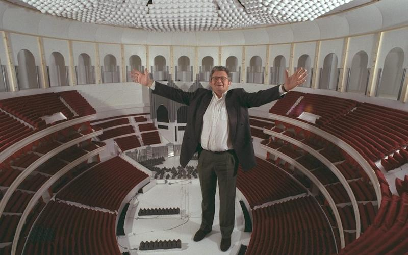 Patrick Deuchar in a scale model of the Royal Albert Hall constructed to research the venue's acoustics - Eddie Mulholland