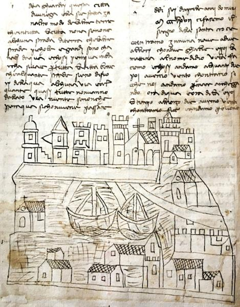 The sketch was found in a manuscript describing an Italian pilgrim's voyage to Jerusalem