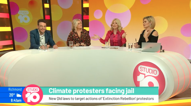 The comments drew concern from fellow panelists Joe Hildebrand, Angela Bishop and Sarah Harris. Photo: Ten
