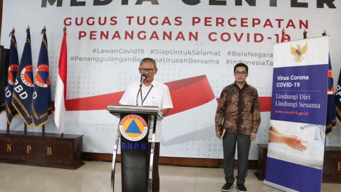 Juru Bicara Pemerintah untuk Penanganan Covid-19 Achmad Yurianto dalam konferensi pers Corona di Graha BNPB Jakarta, Kamis (2/4/2020). (Dok Badan Nasional Penanggulangan Bencana/BNPB)