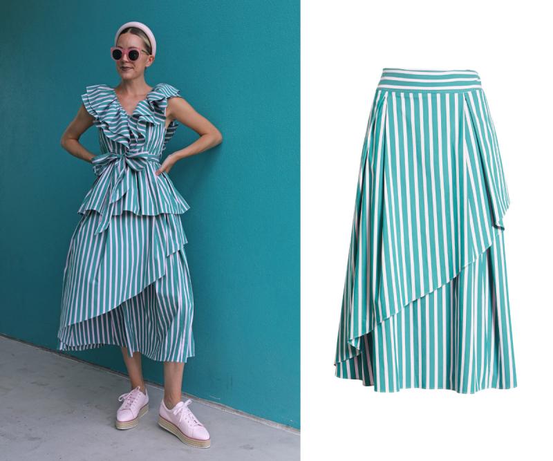 Stripe Asymmetrical Skirt. Image via Nordstrom.