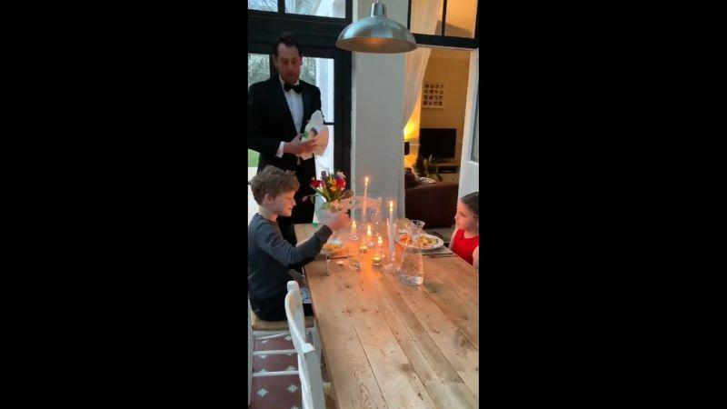 Ben Moore entertaining his children in his waiter role at their home amid the Covid-19 shutdown. — Picture via Twitter